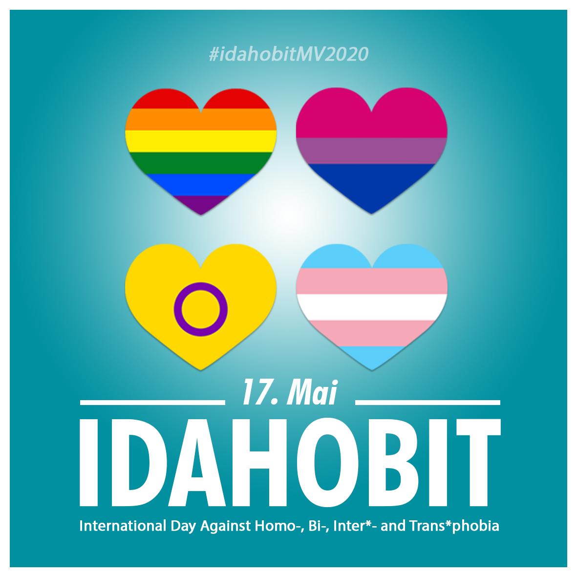 """Bild mit dem Titel """"IDAHOBIT 17. Mai Zu sehen sind 4 bunte Herzen auf blauem Hintergrund"""
