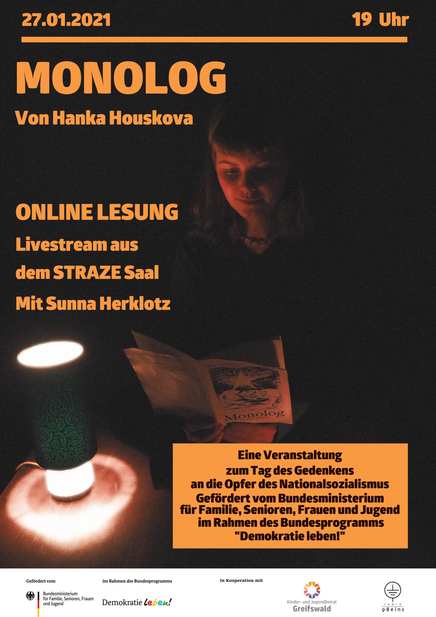 """27.01., 19.00 Uhr: Online- Lesung: """"Monolog"""" von Hanka Houskova"""